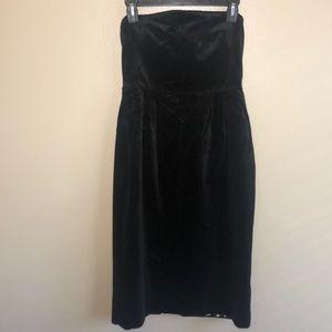 J. Crew Black Velvet Strapless Dress